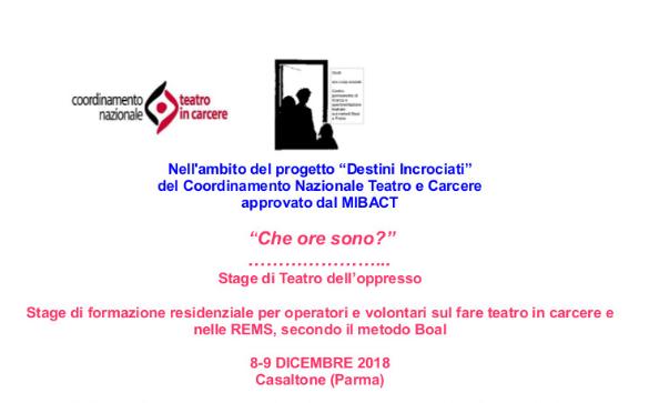 Teatro e Carcere – 8/9 DICEMBRE 2018 -Associazione Giolli